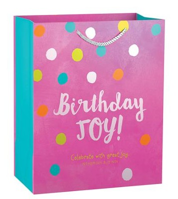 Birthday Joy, Pink Polka Dot Gift Bag, Medium  -