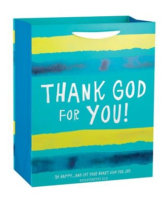 Thank God For You, Blue Stripe Gift Bag  -