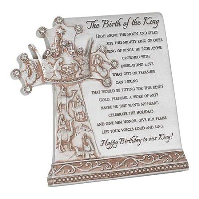 Birth Of The King Resin Plaque, Silver  -