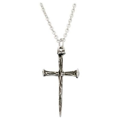Nails Cross Necklace, Pewter  -