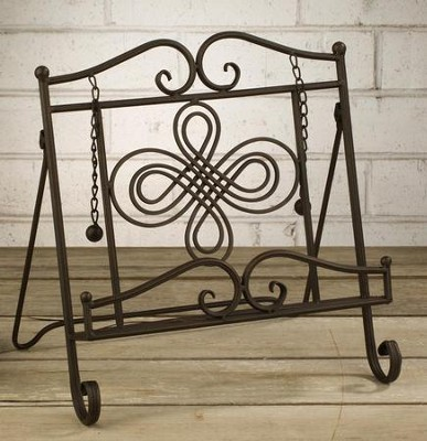 Metal Cookbook Stand with Swirl Design  -