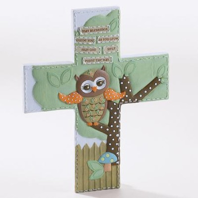 May Blessings Guide You As You Grow, Owl, Wall Cross  -