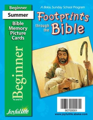 Footprints through the Bible Beginner (ages 4 & 5) Mini Bible Memory Picture Cards  -