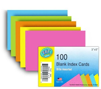 Index Cards 3 x 5 Blank Brites 100 ct.  -
