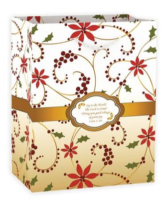 Joy To the World Gift Bag, Red Swirl  -