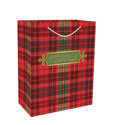 All Is Calm, All Is Bright, Gift Bag, Red Plaid  -