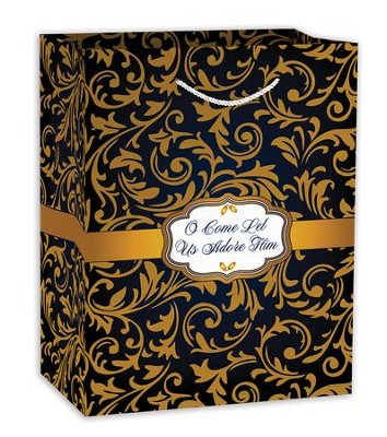 O Come Let Us Adore Him, Gift Bag, Blue and Gold   -