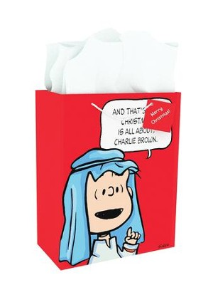 Peanuts, For Unto You Is Born This Day A Saviour, Gift Bag, Large  -