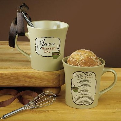 Java Blessed Day Mug with Whisk  -