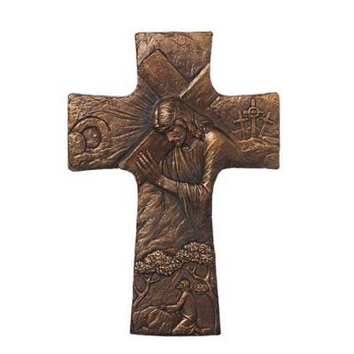 Cross with Jesus Holding a Cross  -