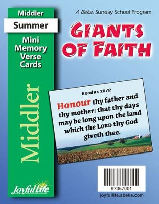 Giants of Faith Middler (Grades 3-4) Mini Memory Verse Cards  -