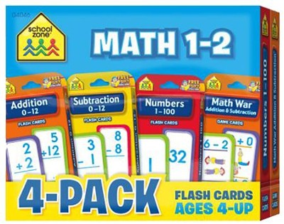 Math 1-2 Flash Cards 4 Pack  -