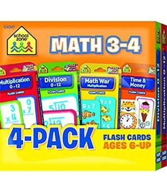 Math 3-4 Flash Cards 4 Pack  -