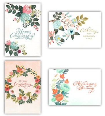 Floral, Anniversary Cards, Box of 12  -