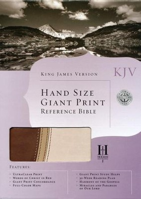 KJV Hand Size Giant Print Reference Bible, Brown and Tan Simulated Leather  -