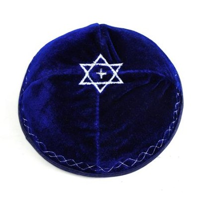 Velvet Kippah: Star with Cross, Navy Blue  -