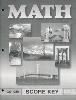 Latest Edition Math PACE SCORE Key 1037-1039 Grade 4  -