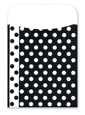 Peel & Stick! Black & White Dots Library Pockets   -