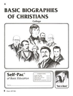 Biographies Of Christians Self-Pac 6, Grades 9-12   -