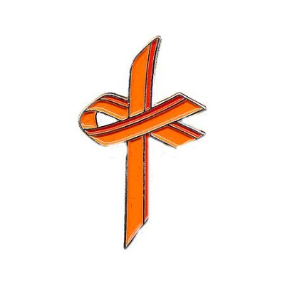 Awareness Cross Pin, Orange  -