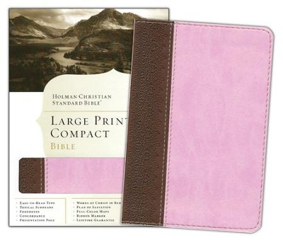 HCSB Large Print Compact Bible, Chocolate & Pink Simulated Leather - Slightly Imperfect  -