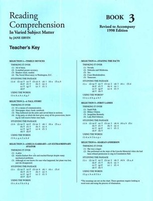 Reading Comprehension in Varied Subject Matter, Answer Key Book 3, Grade 5   -     By: Jane Ervin