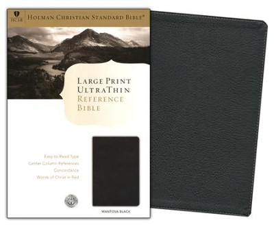 HCSB Large Print UltraThin Reference Bible, Black Simulated Leather  -