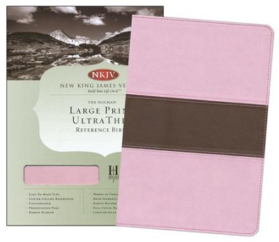NKJV Large Print UltraThin Reference Bible, Pink/brown soft leather-look, indexed  -