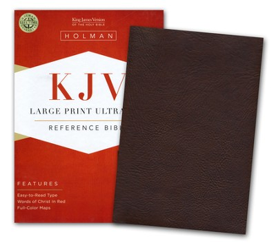 KJV Large Print UltraThin Reference Bible--soft leather-look, chocolate brown (indexed)  -