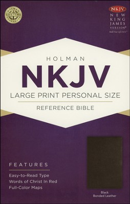 NKJV Large Print Personal Size Reference Bible, Black Bonded Leather  -
