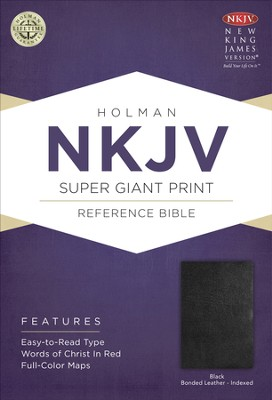 NKJV Super Giant Print Reference Bible, Black Imitation Leather, Thumb-Indexed  -