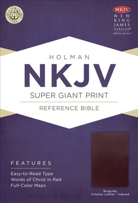 NKJV Super Giant Print Reference Bible, Burgundy Imitation Leather, Thumb-Indexed  -