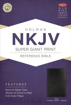 NKJV Super Giant Print Reference Bible, Black Bonded Leather, Thumb-Indexed  -