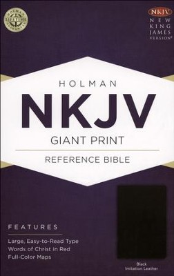 NKJV Giant Print Reference Bible, Black Imitation Leather  -