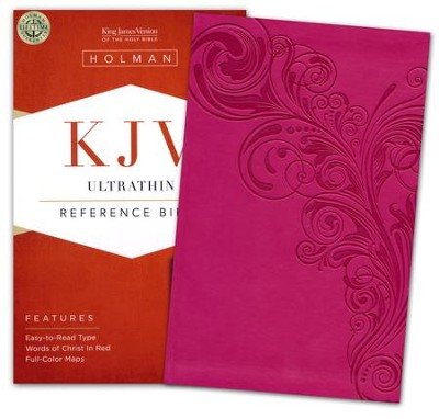 KJV UltraThin Reference Bible, Pink LeatherTouch  -