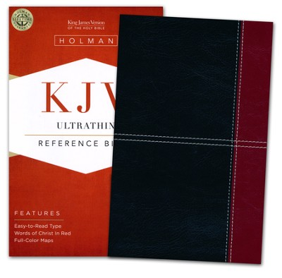 KJV UltraThin Reference Bible, Black and Burgundy LeatherTouch  -