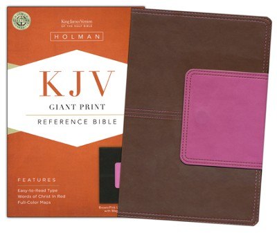 KJV Giant Print Reference Bible, Brown and Pink LeatherTouch with Magnetic Flap  -