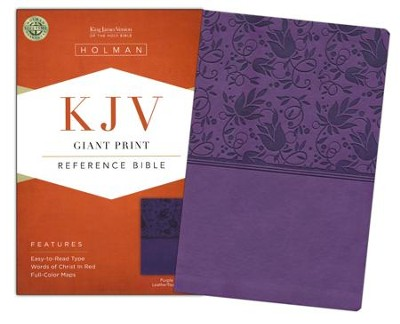 KJV Giant Print Reference Bible, Purple LeatherTouch  -