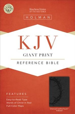 KJV Giant Print Reference Bible, Charcoal LeatherTouch, Thumb-Indexed  -