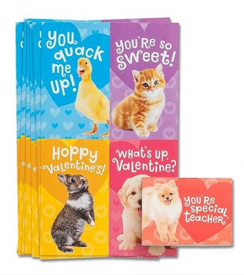 Baby Animals Valentine Cards, Box of 32  -