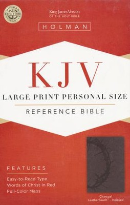KJV Large Print Personal Size Reference Bible, Charcoal LeatherTouch, Thumb-Indexed  -
