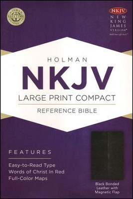 NKJV Large Print Compact Reference Bible, Black Bonded Leather with Magnetic Flap  -