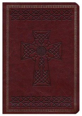 NKJV Large Print Compact Reference Bible, Brown LeatherTouch with Celtic Cross  -