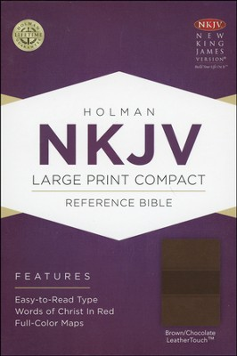 NKJV Large Print Compact Reference Bible, Brown and Chocolate LeatherTouch  -