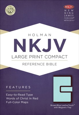 NKJV Large Print Compact Reference Bible, Brown and Blue LeatherTouch with Magnetic Flap  -