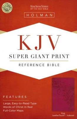 KJV Super Giant Print Reference Bible, Pink LeatherTouch, Thumb-Indexed  -