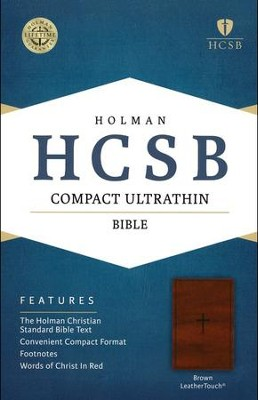 HCSB Compact Ultrathin Bible, Brown LeatherTouch  -