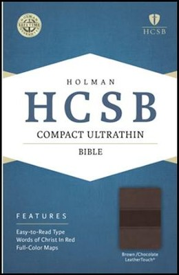 HCSB Compact Ultrathin Bible, Brown and Chocolate LeatherTouch  -