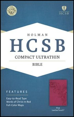 HCSB Compact Ultrathin Bible, Pink LeatherTouch  -