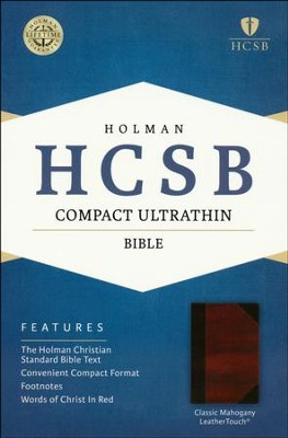 HCSB Compact Ultrathin Bible, Classic Mahogany LeatherTouch  -